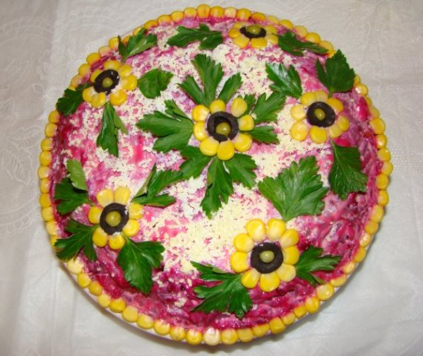 Простые украшение салатов фото