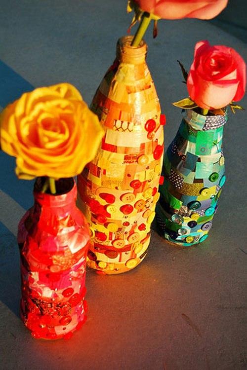 Как украсить бутылку для цветов