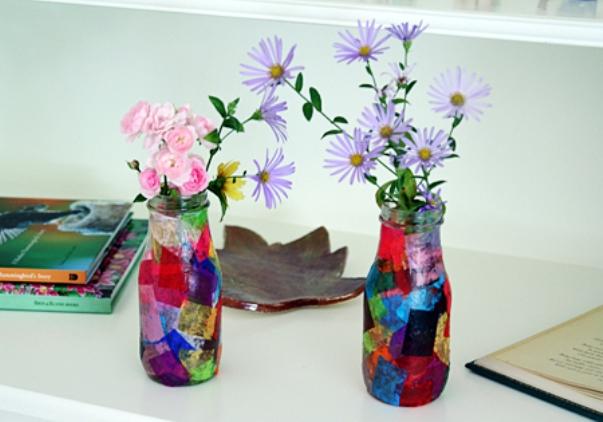 Декорируем стеклянные вазы своими руками