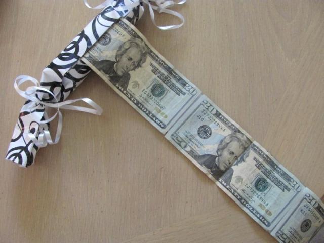 поздравление к ленте из денег мне
