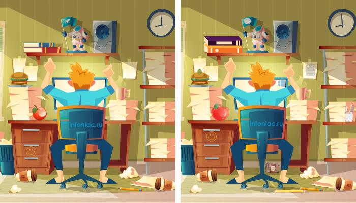Тест: За 1 минуту найдите 10 отличий у работника на самоизоляции