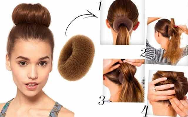 Прическа в виде пучка, напоминающего бублик, отлично выглядит как на длинных, так и на коротких волосах.
