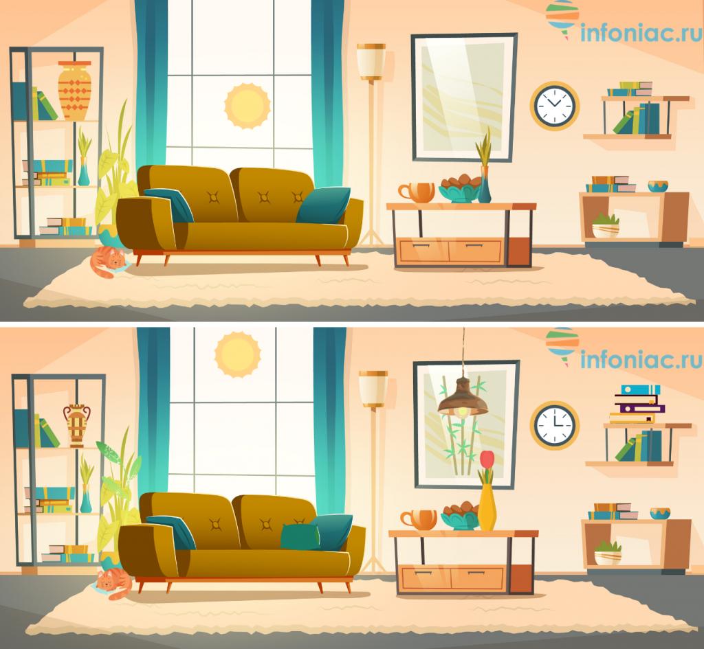 Тест на внимательность: За 30 секунд найдите 10 отличий в комнате