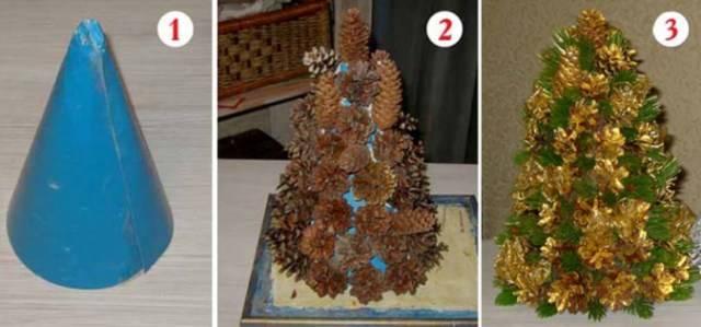 елка из шишек пошаговая инструкция видео