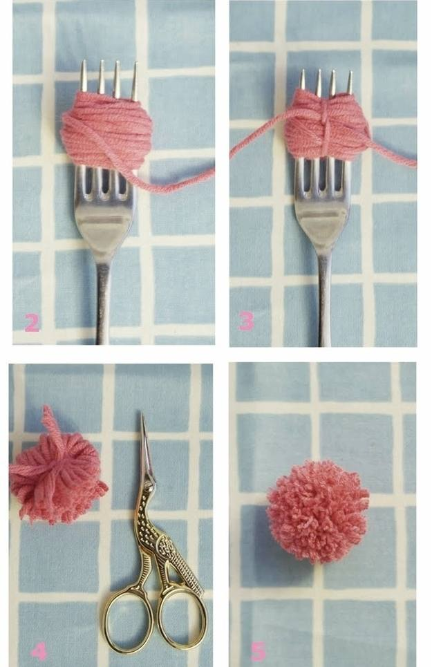 Как сделать пушистый шарик из ниток фото 742