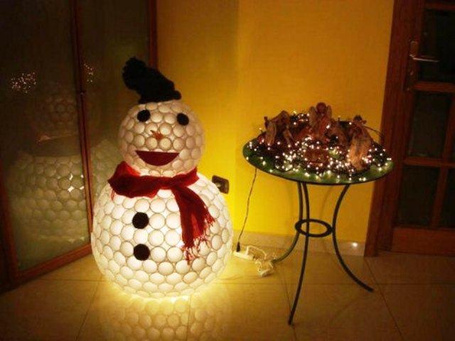 Снеговик из ниток шариков своими руками