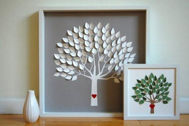 Как сделать из белого картона дерево
