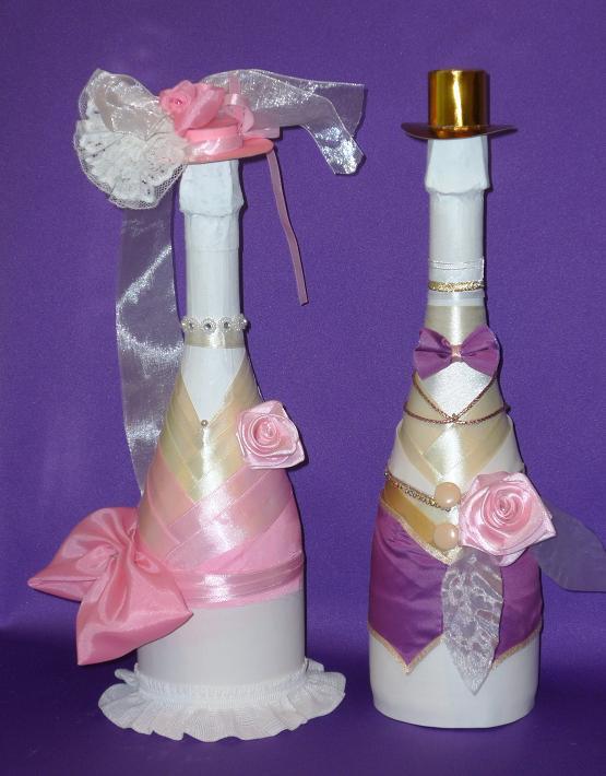 Украшение бутылки на свадьбу пошагово