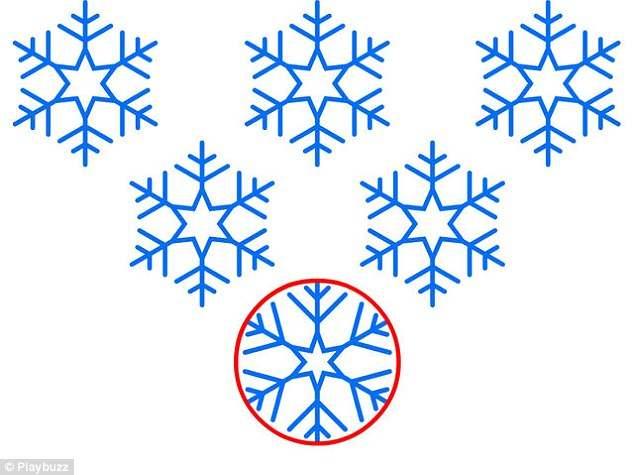 Найдите лишнюю снежинку на этих изображениях
