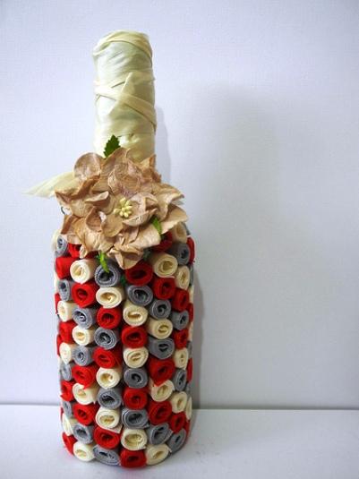Украшение бутылки своими руками лентами