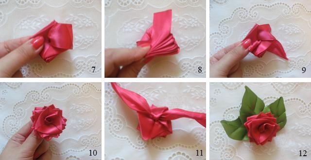 Маленький цветочек из ленты своими руками 74