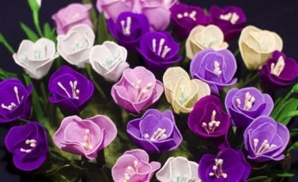 Делаем цветы из гофрированной