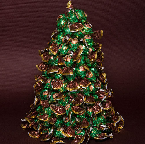 Как сделать елку из конфет своими руками для начинающих фото