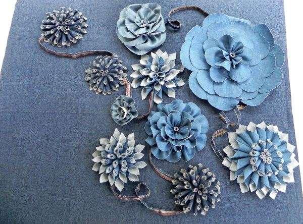 Как сделать цветы из ткани джинсовых своими руками