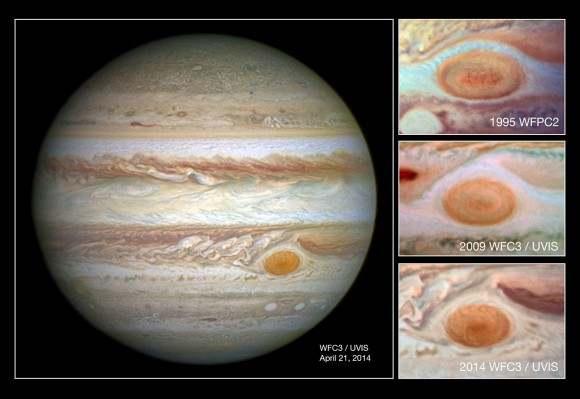 Большое красное пятно Юпитера стало уменьшаться на 1000 км в год
