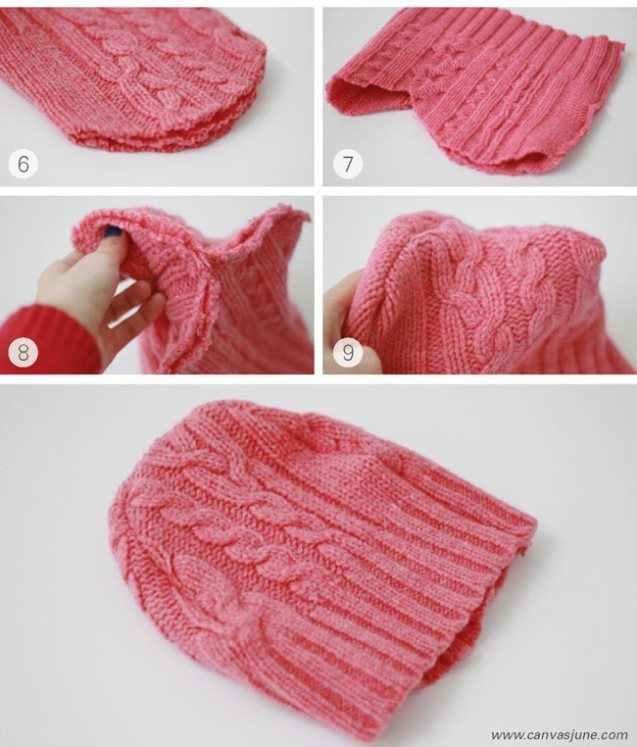 Шапка из старого свитера своими руками пошагово