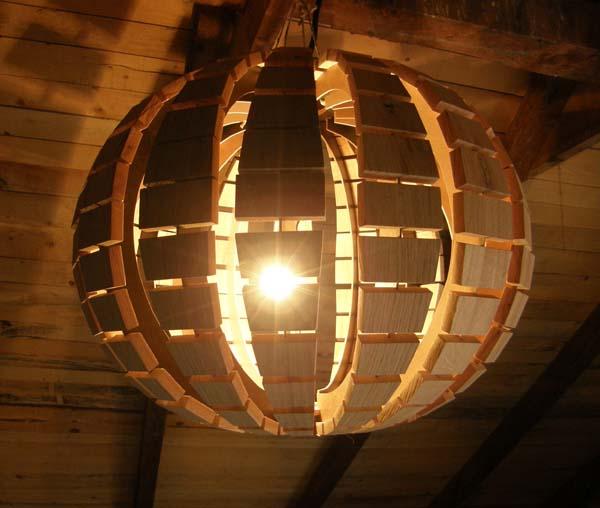 29. освещение. дерево. абажур.  Дизайн абажура: светящийся шар.  Dizajn Nudrvetu. люстра. шар. апр.