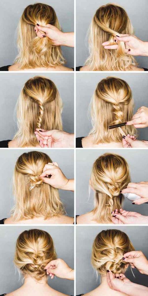 Как заплести прическу с короткими волосами фото