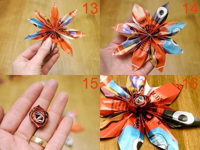 Как из бумаги сделать цветок без клея и ножниц