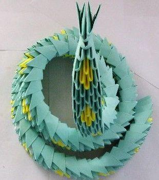 Модульное оригами - схемы сборки змеи: голова.