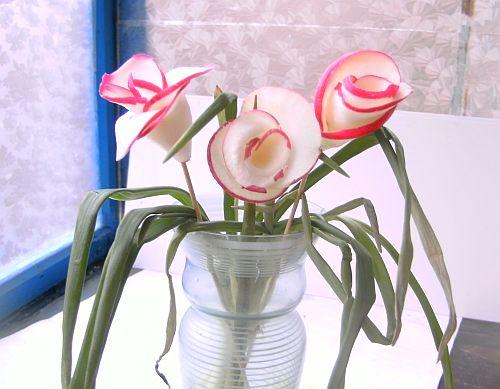 Как сделать из баклажана розу