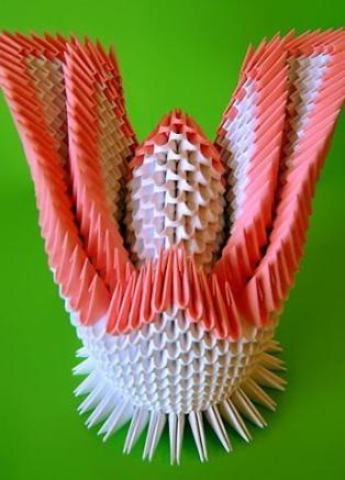 бумажный лебедь. схема сборки двойного лебедя.