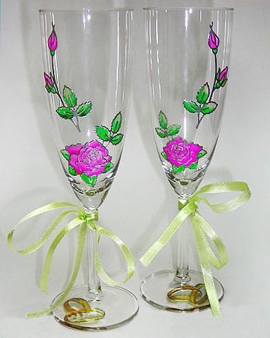 Украшаем бокалы для свадьбы своими руками