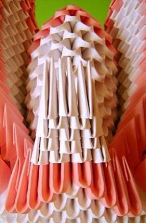 модульное оригами. схема сборки двойного лебедя.