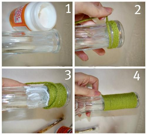 Как сделать из бутылки вазу из ниток