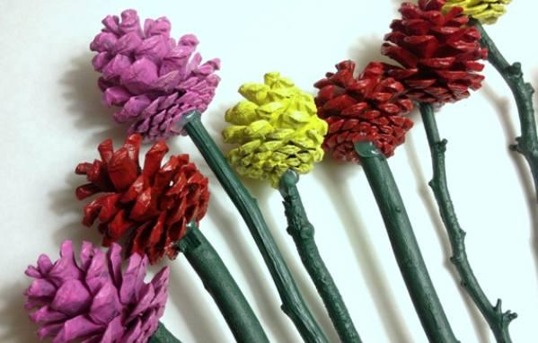 Фото цветов из шишек