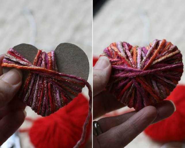 Как сделать кулон из ниток сердце