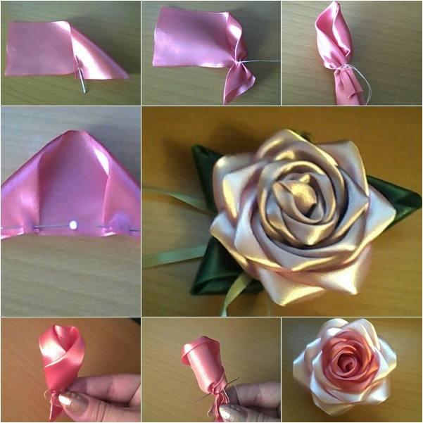 Розы из лент своими руками пошаговое видео фото 563