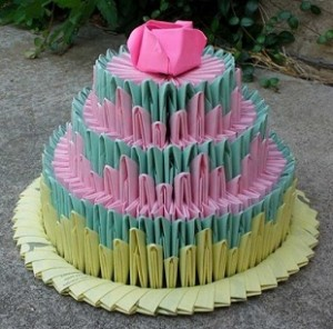 Как сделать торт из оригами модулей