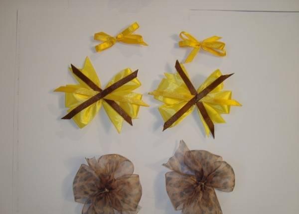 Бант цветок из атласной ленты своими руками